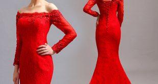 صورة فستان احمر دانتيل , الانوثه والاثارة مع الاحمر الدانتيل