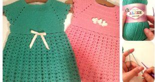 صورة فساتين اطفال كروشيه صيفى بالباترون , ابنتك عارضة ازياء مع الفستان الكروشية