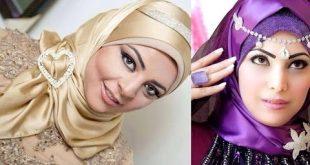 صورة لفات حجاب للمناسبات بالصور , افكار حجاب للسهرات