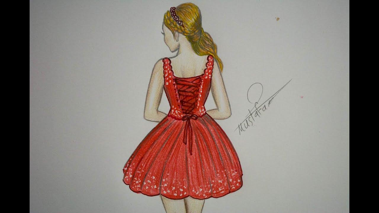 صورة تعلم كيفيه رسم الفساتين القصيره ،رسم فساتين قصيرة